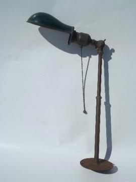 antique O C White vintage brass industrial work light with helmet shade