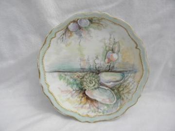 antique O & EG Royal Austria hand-painted china plate, oyster & pearl