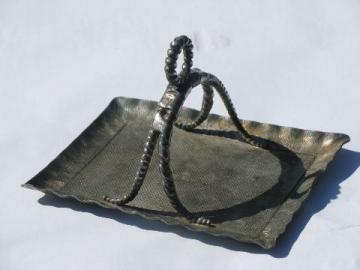antique Pairpoint victorian era silver condiment tray w/ handle, vintage quadruple plate