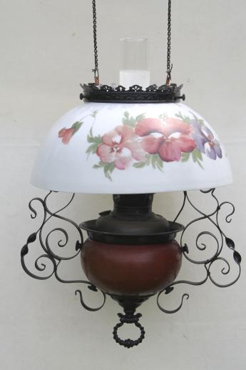 antique Parker oil lamp hanging light, parlor lamp w/ painted pansies glass shade