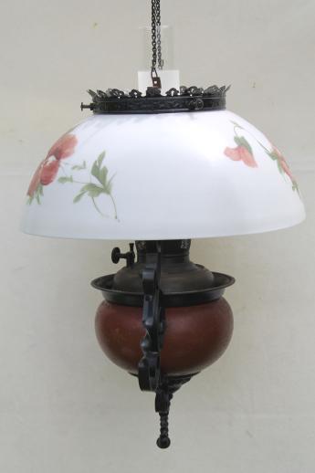 Antique Parker Oil Lamp Hanging Light Parlor Lamp W Painted Pansies Glass S