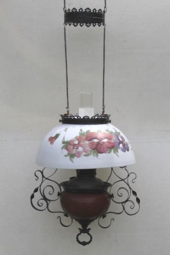 Antique Parker Oil Lamp Hanging Light Parlor Lamp W