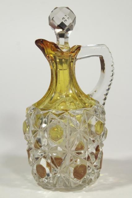 antique Pioneer block and lattice pattern glass cruet, amber yellow stain color