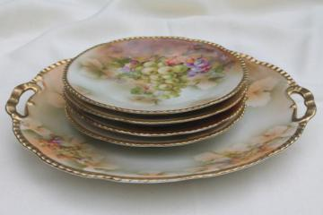 antique Prussia china dessert or cheese set, hand-painted porcelain plates w/ grapes