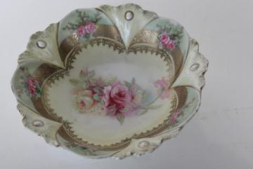 antique RS Prussia hand painted china berry bowl, ribbon & jewel mold, roses and gold