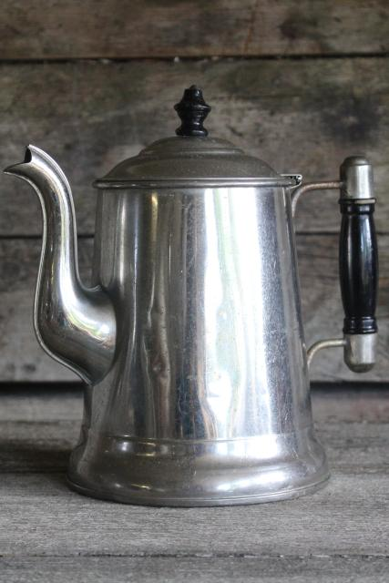 antique Rochester tinned steel coffee pot w/ wood handle, turn of the century vintage