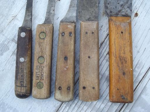 Antique Russell Green River Butcher Knives Carbon Steel Blades For