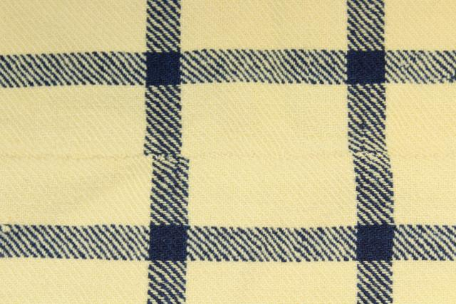 antique Shaker blanket, handwoven homespun wool blue & white check w/ red monogram embroidery