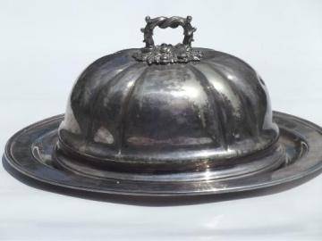 antique Sheffield silver plate, meat platter tray & large dome cover