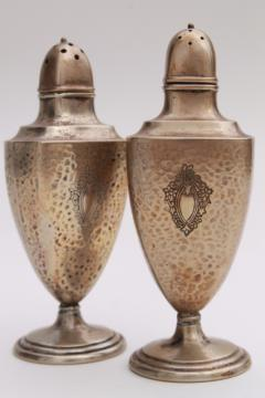 antique Sheffield silver plate salt & pepper shakers, art nouveau hammered finish silver over copper
