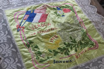 antique Souvenir of France French lace hand embroidered cushion cover WWI vintage