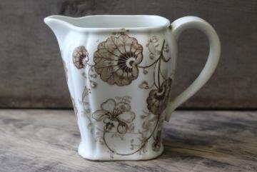 antique Staffordshire china pitcher, brown transferware begonia or geranium leaf