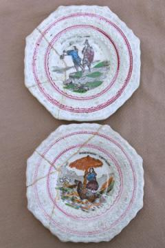 antique Staffordshire china plates, mid 1800s vintage Robinson Crusoe transferware