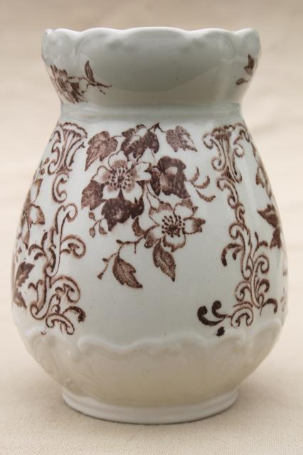Antique Staffordshire Toothbrush Holder Vase Ironstone China Cup