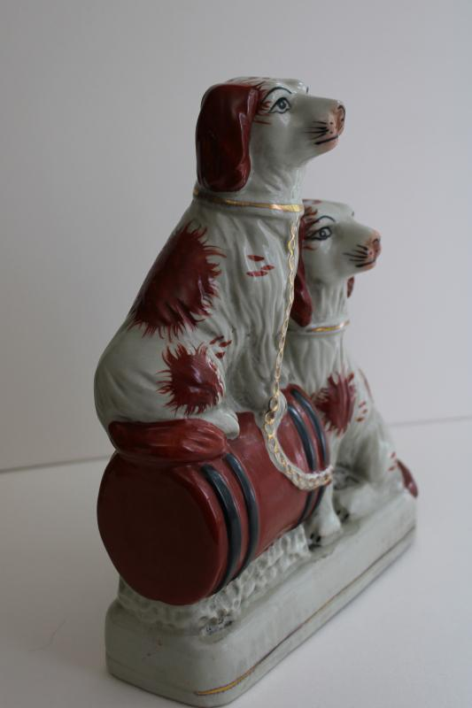 antique Stafforshire china reproduction Wally dog spaniels figurine, 20th century vintage