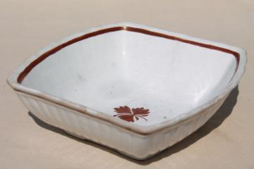 antique Tea Leaf ironstone china bowl, square serving dish English Staffordshire