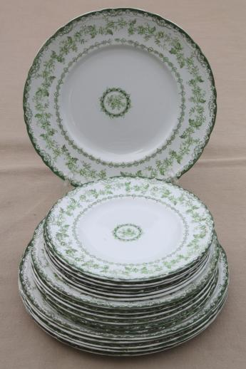 antique Torby green transferware china plates EnglishStaffordshire circa 1901-10 : green and white dinnerware - pezcame.com