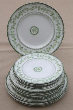 antique Torby green transferware china plates, EnglishStaffordshire circa 1901-10