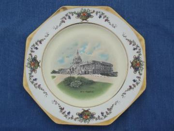 antique US Capitol souvenir plate, old Johnson Bros Pareek china