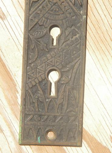 antique Victorian Arts & Crafts bronze/brass door knob escutcheon plate