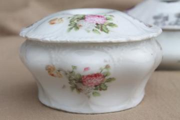 antique Victorian / Edwardian vintage china hair receiver vanity boxes