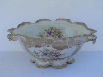antique Victorian console bowl, flowers & gold, old Germany or Austria china