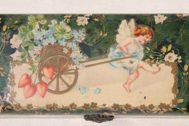 antique Victorian era ladies gloves box, baby cherub angel w/ hearts & flowers, lucky clover
