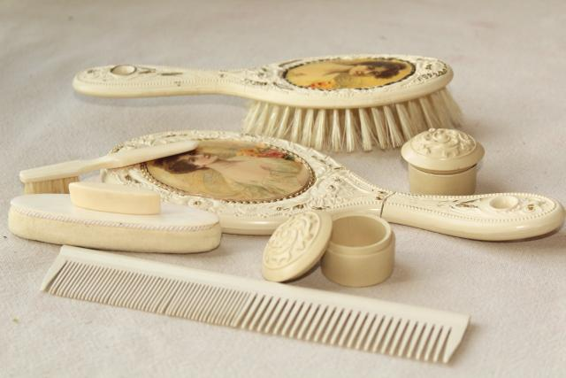 antique Victorian lady french ivory gutta percha dressing table set, brush comb mirror velvet case