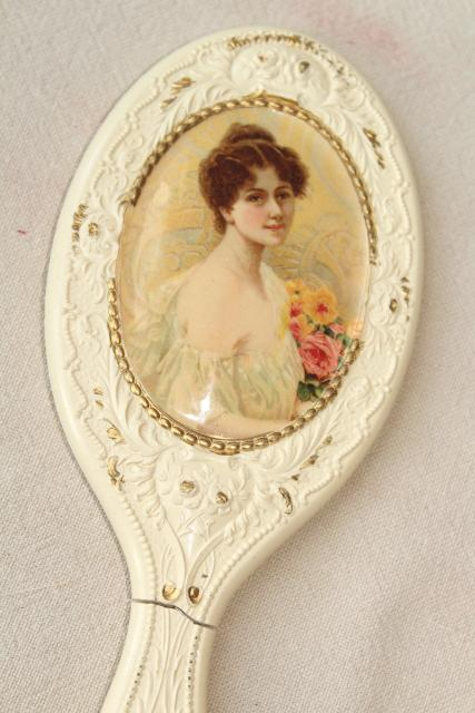 Antique Victorian Lady French Ivory Gutta Percha Dressing