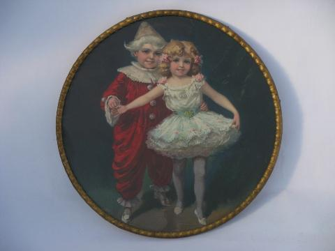 antique Victorian litho color prints, round pictures of girl dancer, skating children