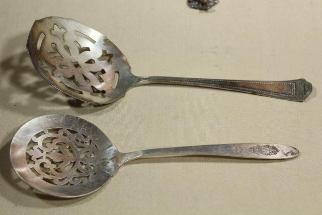antique Victorian silver, large ornate berry scoop spoons & tomato servers, vintage silverplate