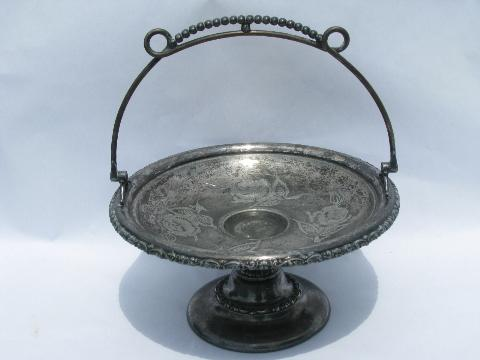 antique Victorian vintage bright cut silver plate stand, basket shape