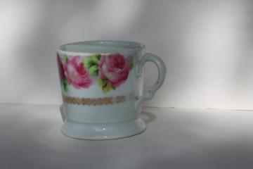 antique Victorian vintage shaving mug, Bavaria pink roses china cup