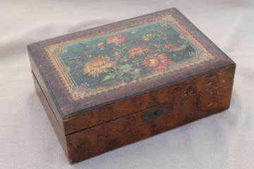 antique Victorian work box for restoration, ladies sketching box or writing desk