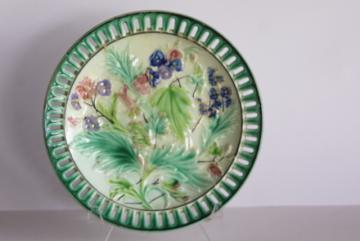 antique Villeroy & Boch German majolica pottery plate w/ reticulated border