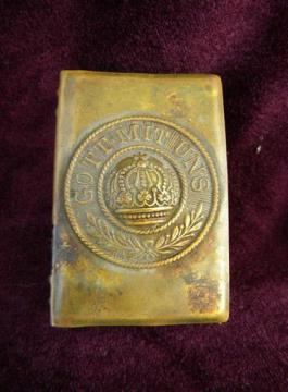 antique WWI imperial German soldier's brass match box cover Gott mit Uns