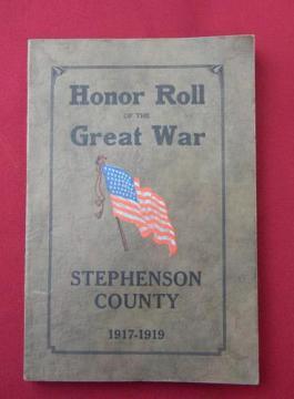 antique WWI service records Stephenson Co Illinois genealogy/art binding
