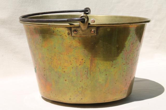 antique Waterbury brass kettle, bucket handle pot marked w/ Hayden patent mid 1800s vintage