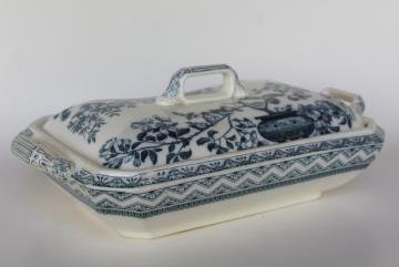 antique Wedgwood china blue & white transferware covered bowl, Edinburg aesthetic border, birds