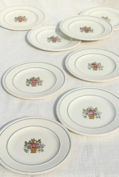 antique Wedgwood china bread plates, Belmar flower basket on Edme shape, vintage 1917