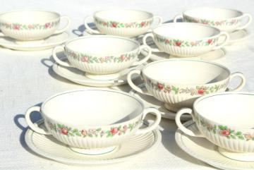 antique Wedgwood china cream soup bowls or bullion cups vintage 1917, Belmar pattern