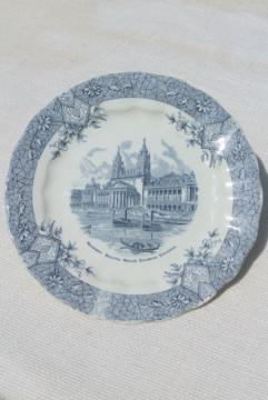 antique Wedgwood china plate, souvenir scene World's Fair Chicago Columbian Exposition 1890s