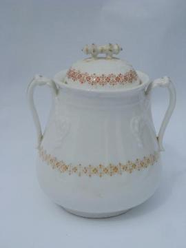 antique Wedgwood china tea service waste bowl or covered biscuit jar, rope handles