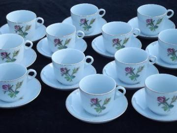 antique Wedgwood moss rose ironstone china, set of 12 cups and saucers