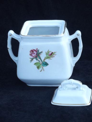 Antique Wedgwood Moss Rose Ironstone China Tea Set Teapot