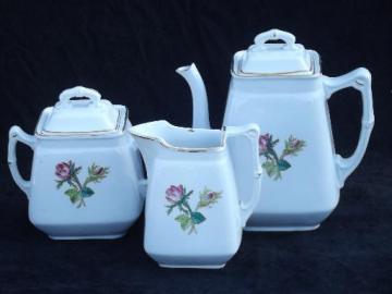antique Wedgwood moss rose ironstone china tea set, teapot, cream pitcher, sugar