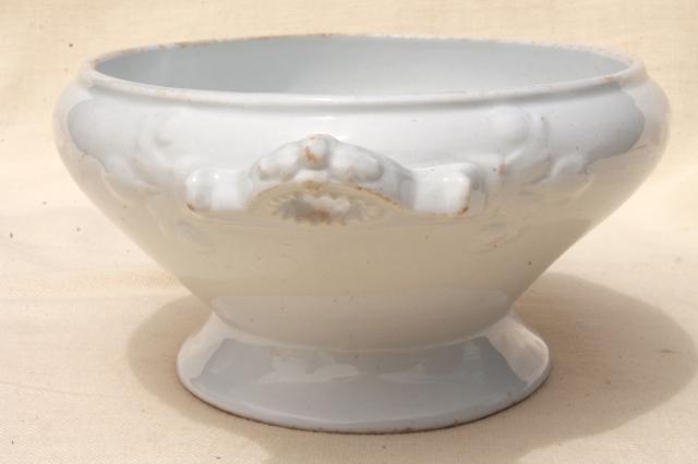 Antique Wedgwood Oval Bowl Tureen White Ironstone China