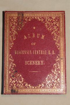 antique Wisconsin Central railroad souvenir, fold out postcard photo album
