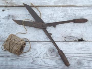 antique Wiss garden shears, vintage  hand hedge clippers loppers