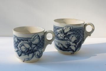 antique aesthetic vintage flow blue transferware china mugs, large & small cups